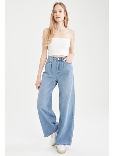 DeFacto Geniş Paça Yüksek Bel Jean Pantolon Mavi
